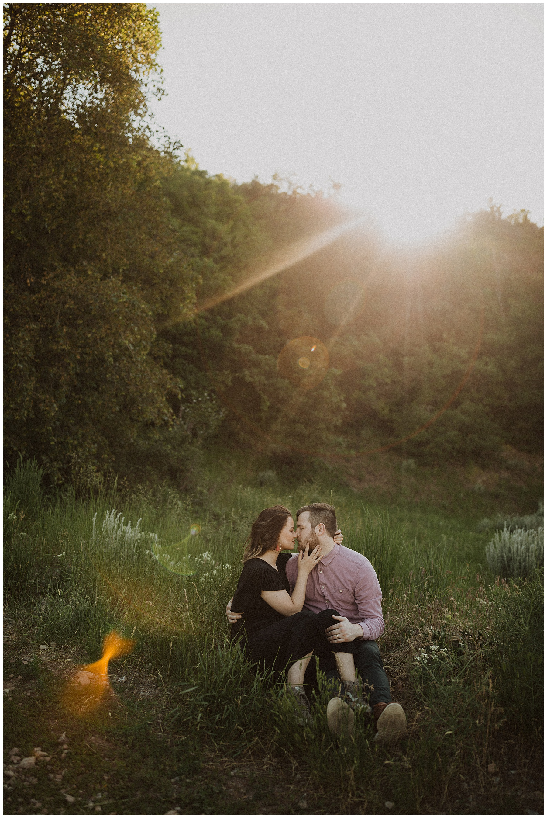 Summer engagements at a green field in Provo Canyon
