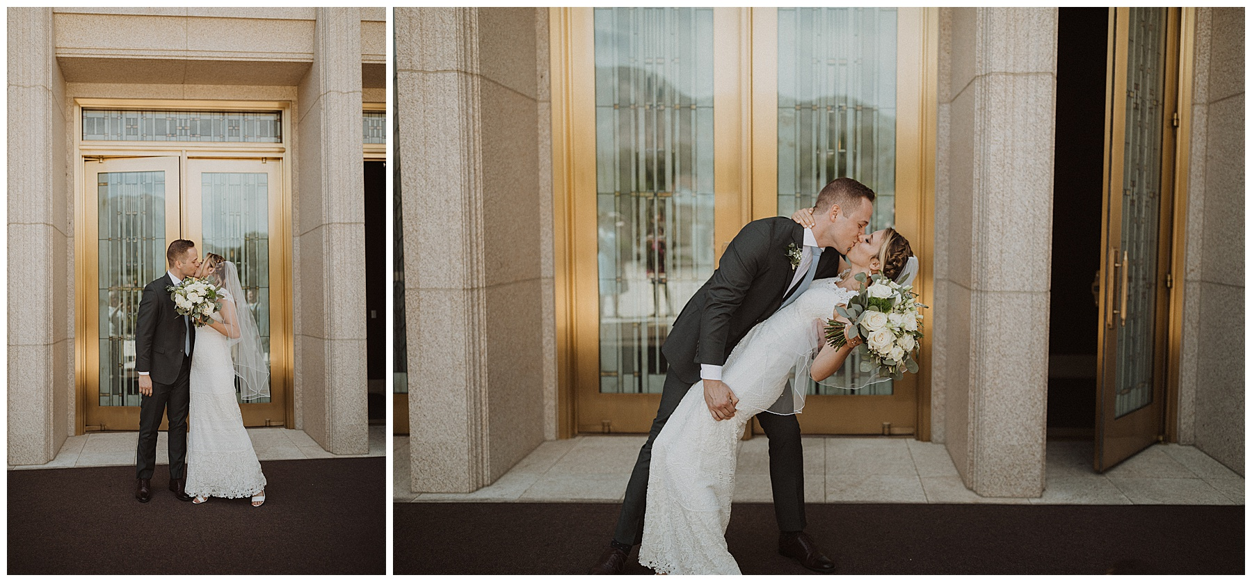 Bride and groom kiss after exiting the Ogden Utah Temple