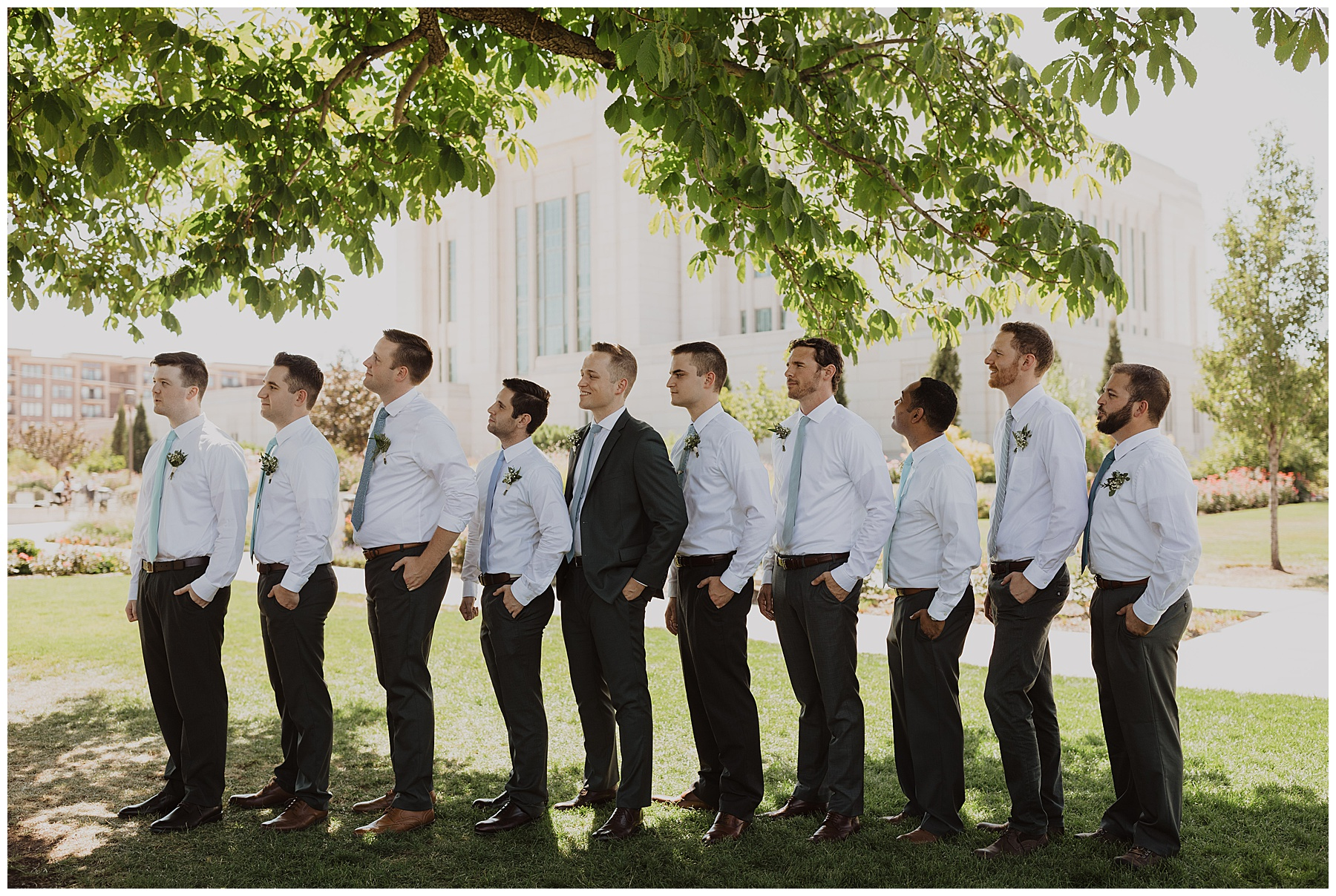 Groomsmen and groom at summer Utah wedding
