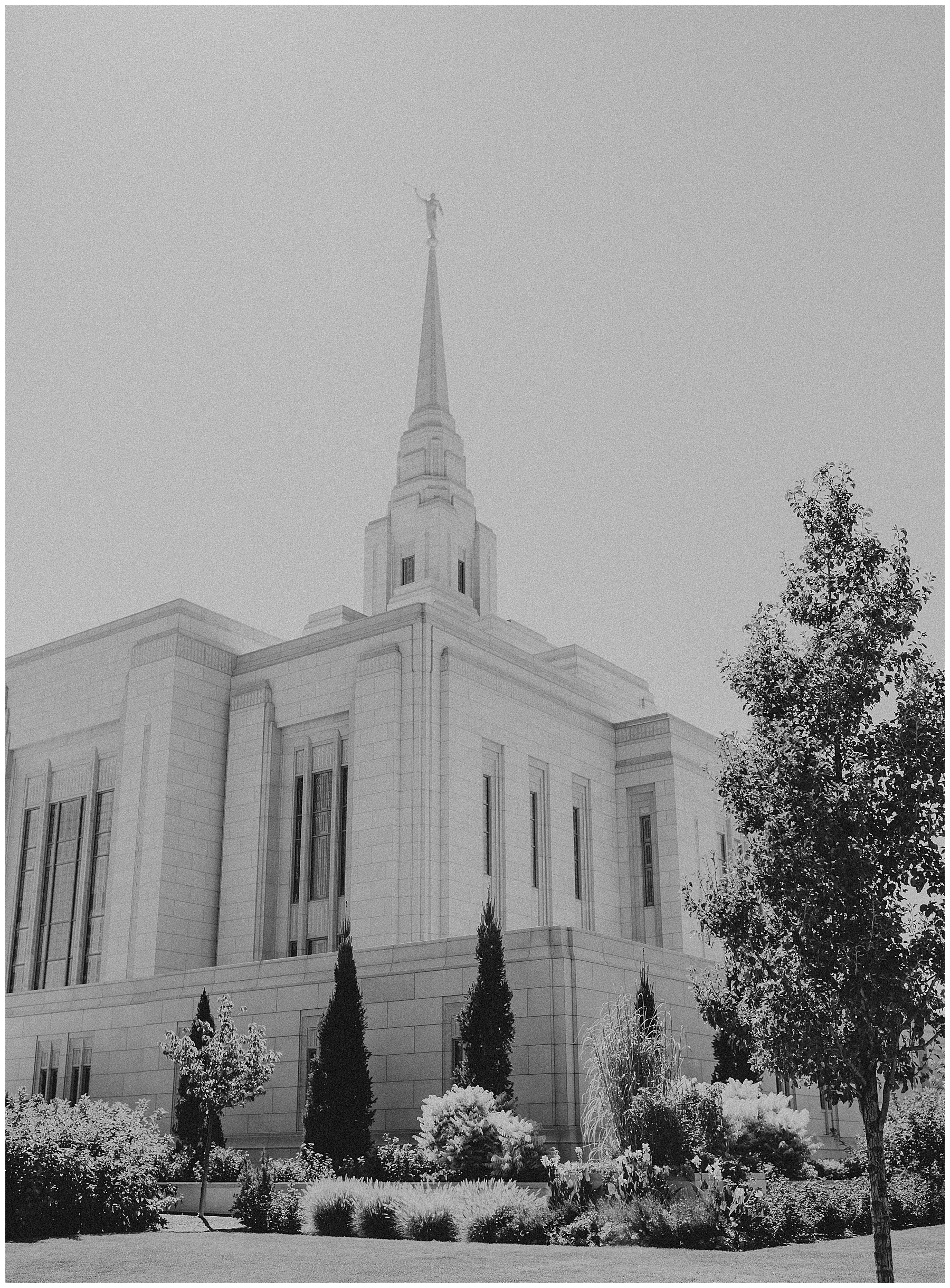 Black and white Ogden Utah Temple in the summer