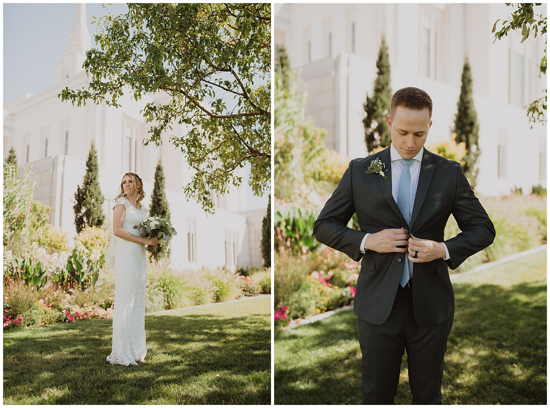 Bride and groom in front of Ogden Utah Temple
