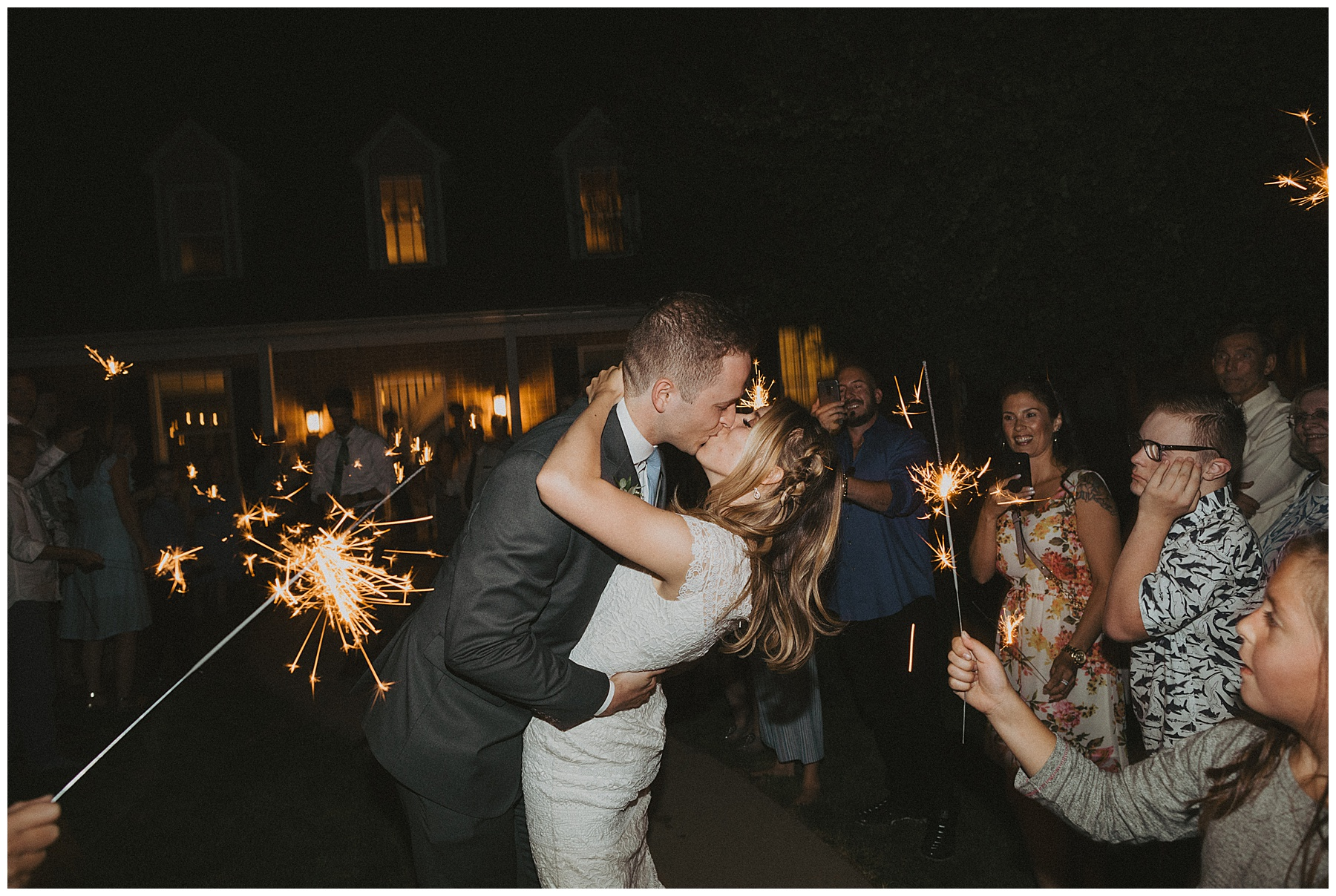 Sparkler sendoff at summer Ogden Utah wedding