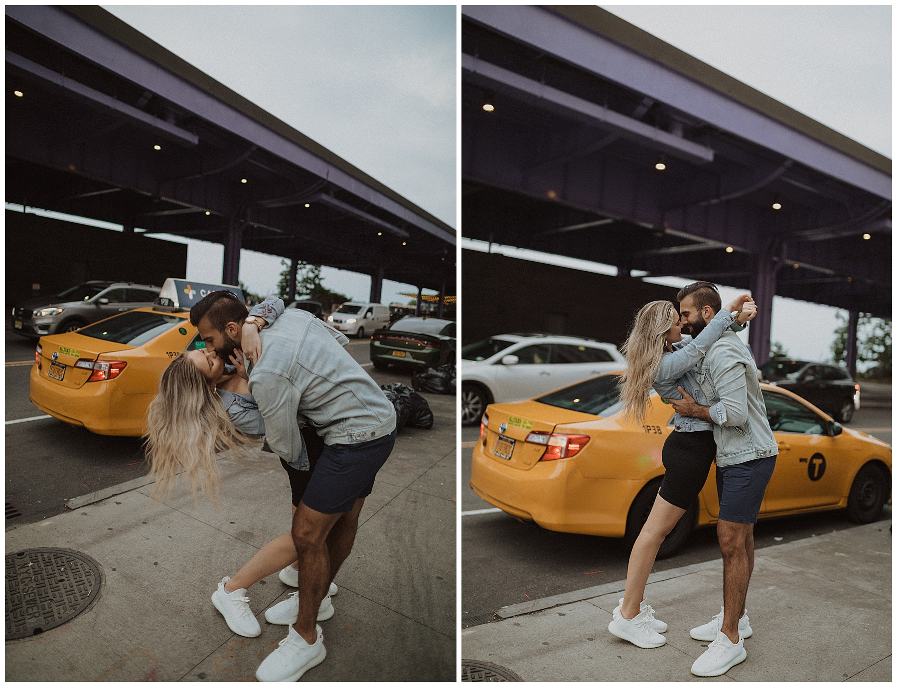 Cloudy summer engagements in New York City with couple kissing in front of taxi cab