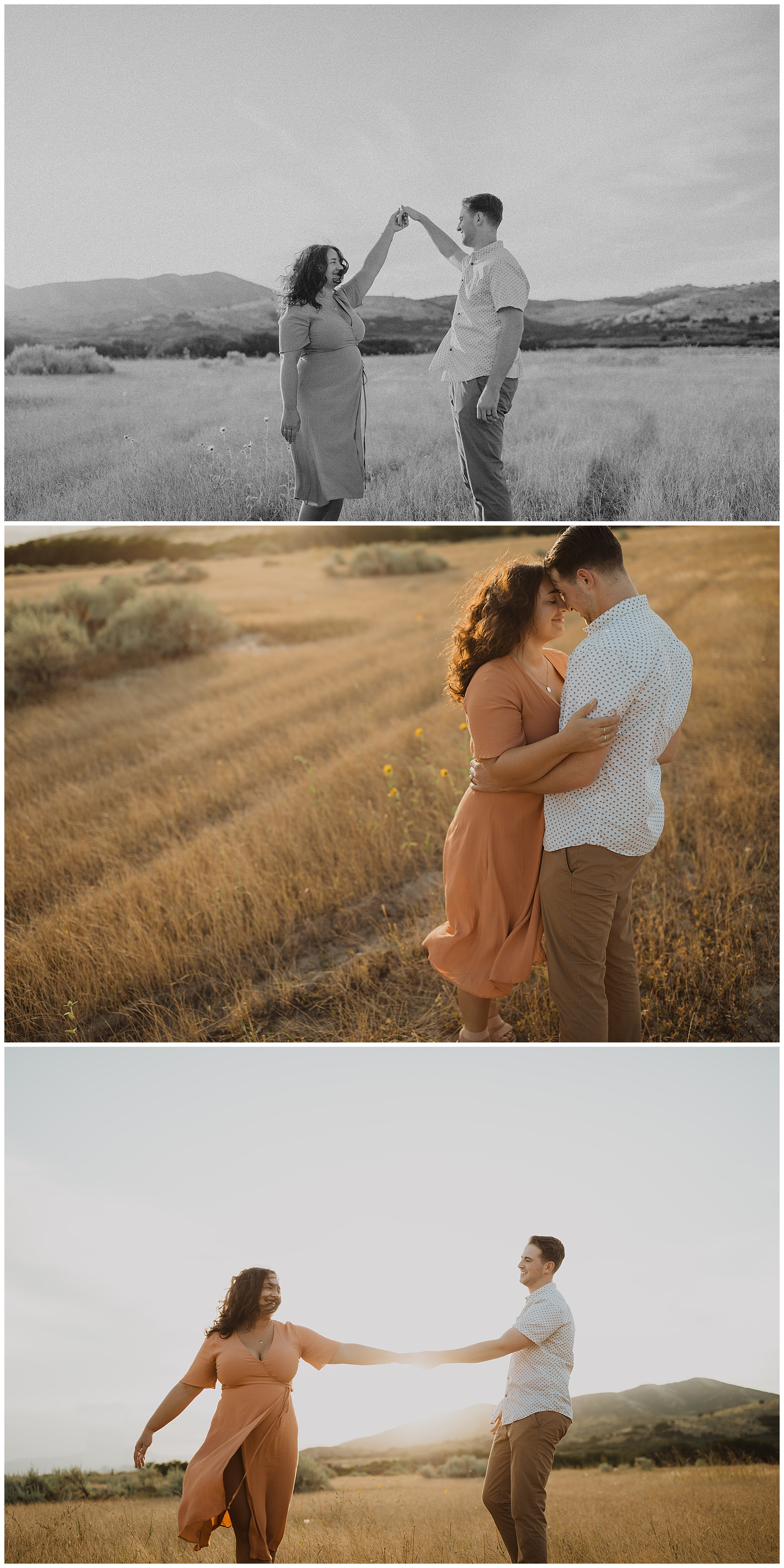 Couple embracing anniversary yellow fields