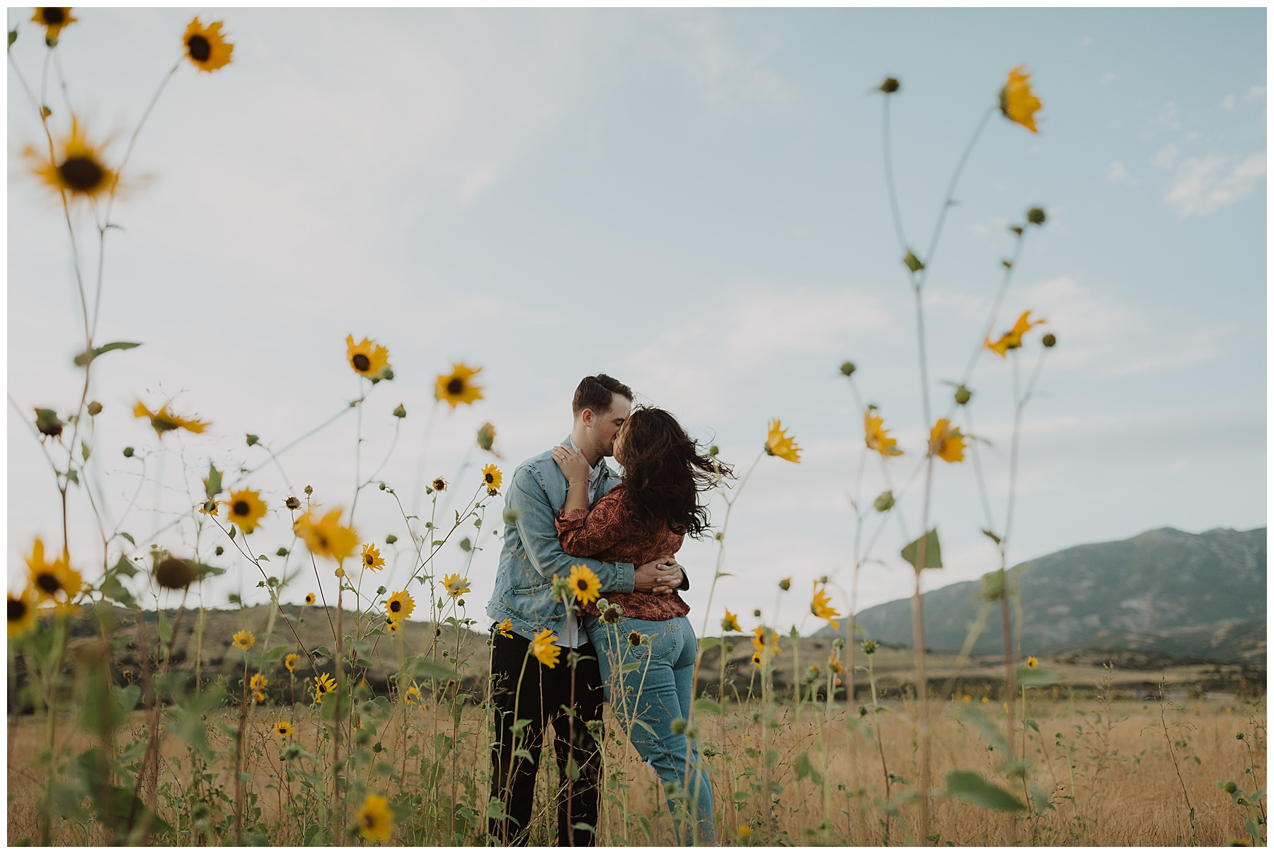 Couple kissing with sunflowers in a yellow field